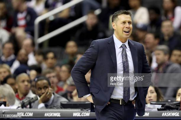 Head coach David Joerger of the Sacramento Kings reacts to a call against the Washington Wizards in the first half at Capital One Arena on March 11...