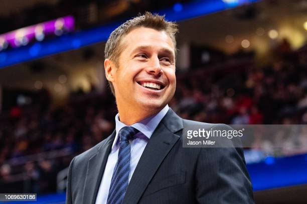 Head coach David Joerger of the Sacramento Kings smiles at fans during the first half against the Cleveland Cavaliers at Quicken Loans Arena on...