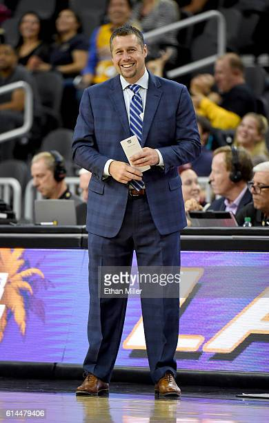 Head coach David Joerger of the Sacramento Kings smiles during a preseason game against the Los Angeles Lakers at TMobile Arena on October 13 2016 in...