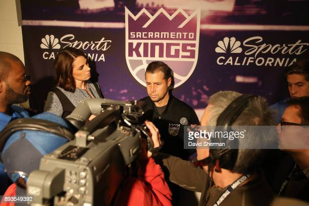 Head Coach David Joerger of the Sacramento Kings speaks with the media before the game against the Minnesota Timberwolves on December 14 2017 at...