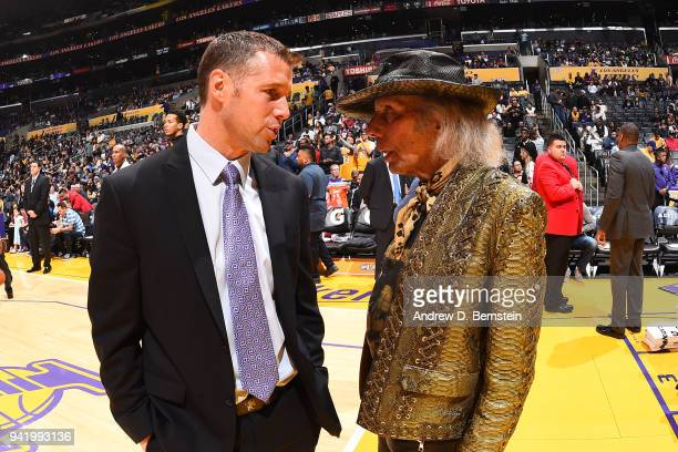 Head Coach David Joerger of the Sacramento Kings talks to James Goldstein during the game against the Los Angeles Lakers on April 1 2018 at STAPLES...