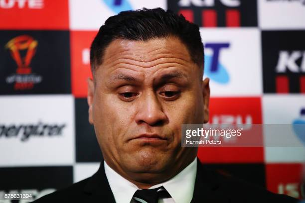 Head coach David Kidwell answers questions after losing the 2017 Rugby League World Cup Quarter Final match between New Zealand and Fiji at Westpac...