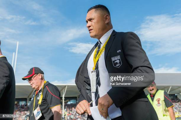 Head Coach David Kidwell of the Kiwis looks on during the 2017 Rugby League World Cup match between the New Zealand Kiwis and Scotland at AMI Stadium...