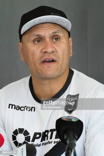 Head Coach David Kidwell of the Kiwis speaks to the media during a New Zealand Kiwis Rugby League World Cup press conference on October 31 2017 in...