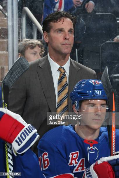 Head coach David Quinn of the New York Rangers looks on from the bench against the Detroit Red Wings at Madison Square Garden on March 19 2019 in New...