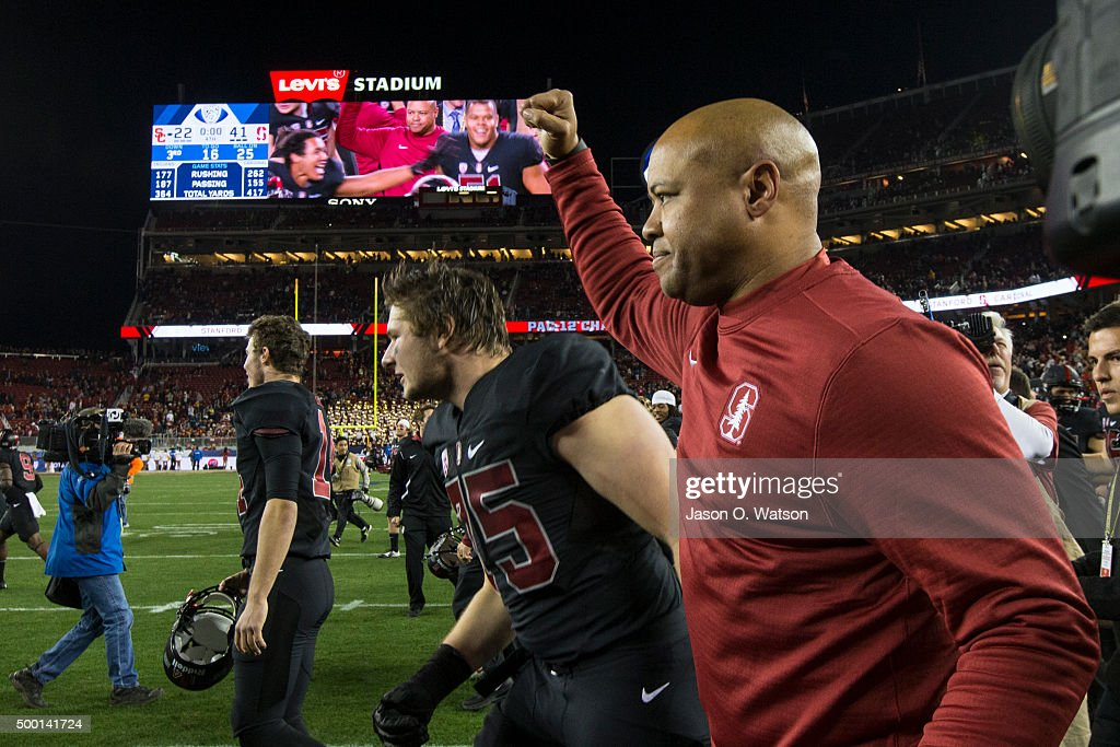 Head coach David Shaw of the Stanford Cardinal celebrates after the Pac-12 Championship game against the USC Trojans at Levi's Stadium on December 5, 2015 in Santa Clara, California. The Stanford Cardinal defeated the USC Trojans 41-22.