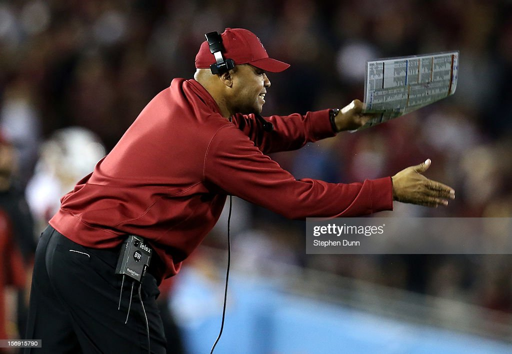 Head coach David Shaw of the Stanford Cardinal gestures during the game against the UCLA Bruins at the Rose Bowl on October 13, 2012 in Pasadena, California. Stanford won 35-17.