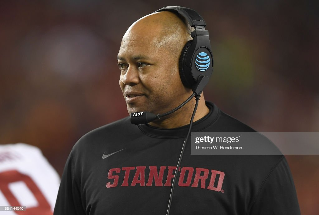 Head coach David Shaw of the Stanford Cardinal looks on from the sidelines against the USC Trojans during the Pac-12 Football Championship game at Levi's Stadium on December 1, 2017 in Santa Clara, California. The Trojans won the game 31-28.