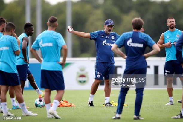 Head coach David Wagner attends the first training session after the summer break at Training Ground on August 03, 2020 in Gelsenkirchen, Germany.