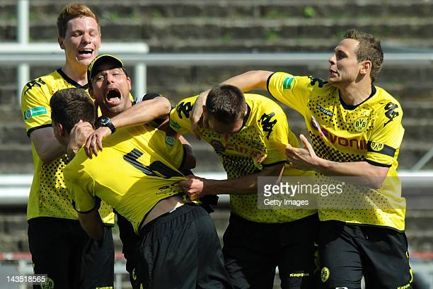 Head coach David Wagner of Dortmund celebrates after scoring his team's first goal during the Regionalliga West match between Borussia Dortmund II...