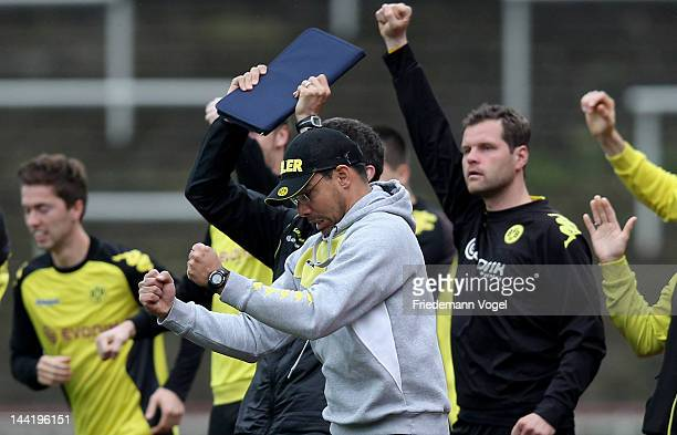 Head coach David Wagner of Dortmund celebrates the first goal during the Regionalliga West match between Borussia Dortmund II and VfL Bochum II at...