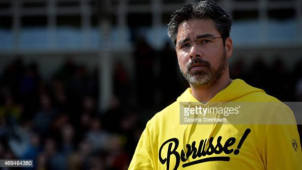 Head coach David Wagner of Dortmund looks on prior to the 3 Liga match between Borussia Dortmund II and SpVgg Unterhaching at Stadion Rote Erde on...