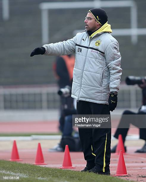Head coach David Wagner of Dortmund reacts during the 3 Liga match between Borussia Dortmund II and Preussen Muenster at Stadion Rote Erde on March...