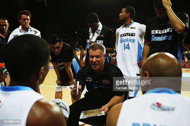 Head coach Dean Vickerman of the Breakers gives instructions during the NBL preseason match between the New Zealand Breakers and the Dongguan...