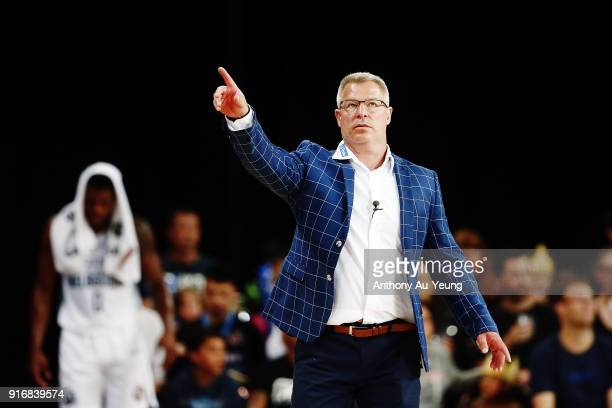 Head Coach Dean Vickerman of United reacts during the round 18 NBL match between the New Zealand Breakers and Melbourne United at Spark Arena on...