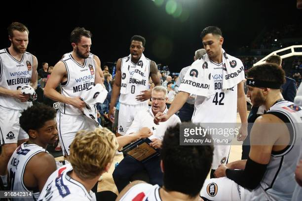 Head Coach Dean Vickerman of United talks to the team at a timeout during the round 18 NBL match between the New Zealand Breakers and Melbourne...