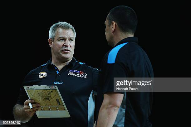 Head coach Dean Vickerman talks with assistant coach Paul Henare on during the Round 17 NBL match between the New Zealand Breakers and Townsville...