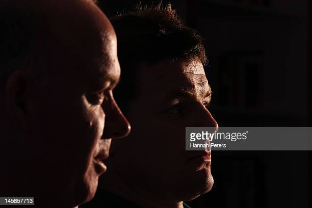 Head coach Declan Kidney and Brian O'Driscoll talk to the media during the Ireland rugby team announcement at the Spencer on Byron on June 7 2012 in...