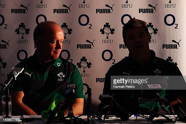Head coach Declan Kidney listens as Brian O'Driscoll talks to the media during the Ireland rugby team announcement at the Spencer on Byron on June 7...