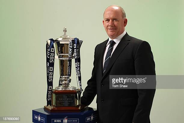 Head Coach Declan Kidney of Ireland poses with the RBS Six Nations Trophy during the RBS Six Nations Launch at The Hurlingham Club on January 25 2012...