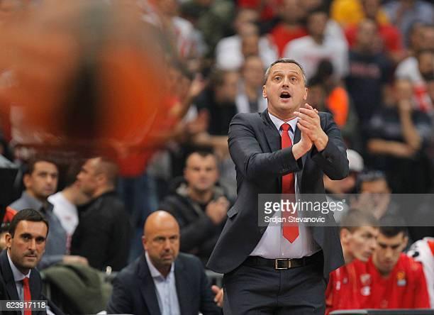 Head coach Dejan Radonjic reacts during the 2016/2017 Turkish Airlines EuroLeague Regular Season Round 8 game between Crvena Zvezda MTS Belgrade...