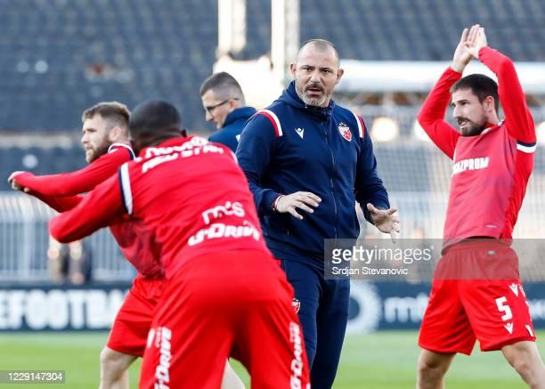 Head coach Dejan Stankovic of Crvena Zvezda speaks to the players prior to the Serbian SuperLiga match between Partizan Belgrade and Crvena Zvezda at...