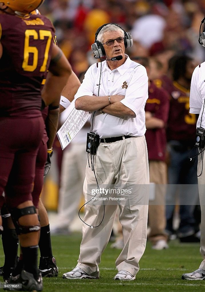 Head coach Dennis Erickson of the Arizona State Sun Devils during the college football game against the Arizona Wildcats at Sun Devil Stadium on November 28, 2009 in Tempe, Arizona. The Wildcats defeated the Sun Devils 20-17.