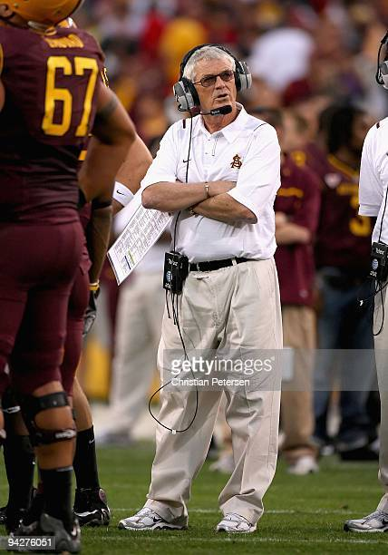 Head coach Dennis Erickson of the Arizona State Sun Devils during the college football game against the Arizona Wildcats at Sun Devil Stadium on...