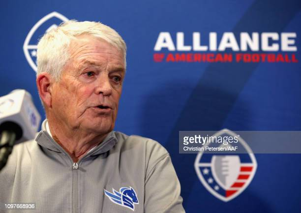 Head coach Dennis Erickson of the Salt Lake Stallions speaks at a press conference after the Arizona Hotshots defeated the Stallions 3822 in the...