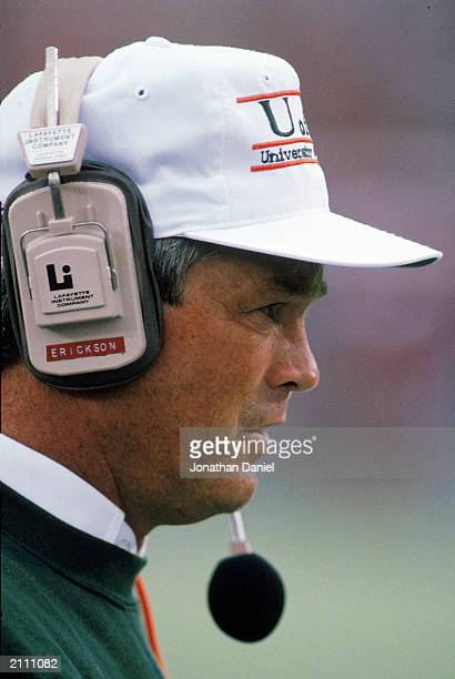 Head Coach Dennis Erickson of the University of Miami Hurricanes looks on from the sidelines during a game against University of Wisconsin Badgers on...