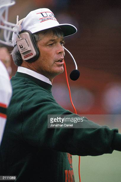 Head Coach Dennis Erickson of the University of Miami Hurricanes instructs from the sidelines during a game against University of Wisconsin Badgers...