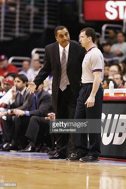 Head coach Dennis Johnson of the Los Angeles Clippers talks to referee Tim Donaghy during the game against the Los Angeles Lakers on March 17, 2003...
