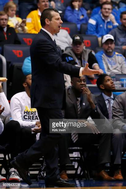 Head coach Derek Kellog of the LIU Brooklyn Blackbirds argues a call during the game against the Radford Highlanders at UD Arena on March 13 2018 in...