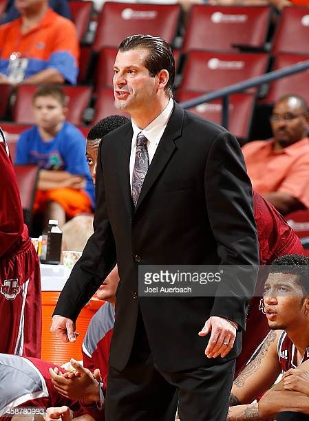 Head coach Derek Kellogg of the Massachusetts Minutemen reacts to first half action against the Florida State Seminoles during the MetroPCS Orange...