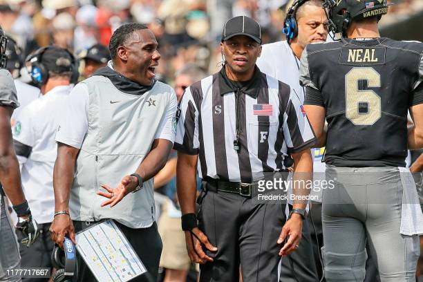 Head coach Derek Mason of the Vanderbilt Commodores argues the placement of the ball after a punt from the Northern Illinois Huskies during the...