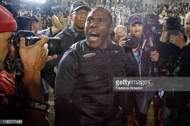 Head coach Derek Mason of the Vanderbilt Commodores celebrates after a Vanderbilt 2114 upset over the Missouri Tigers at Vanderbilt Stadium on...