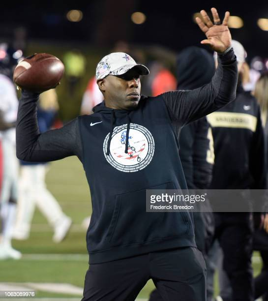 Head coach Derek Mason of the Vanderbilt Commodores throws a ball prior to a game against the Ole Miss Rebels during the first half at Vanderbilt...