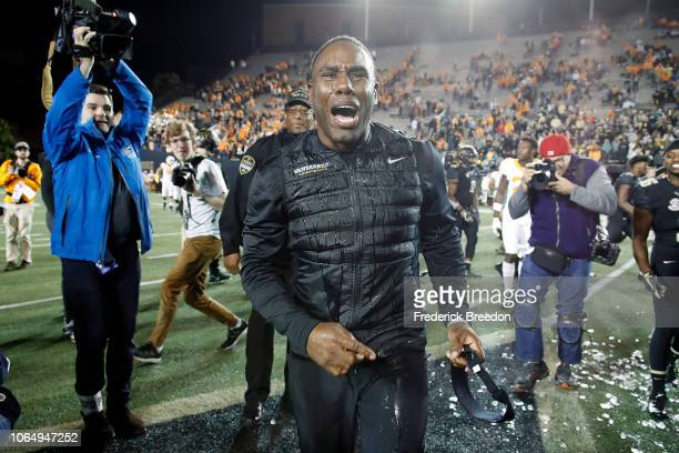 Head coach Derek Mason of the Vanderbilt Commodores yells after being doused in Gatorade after a 3813 Vanderbilt victory over the Tennessee...
