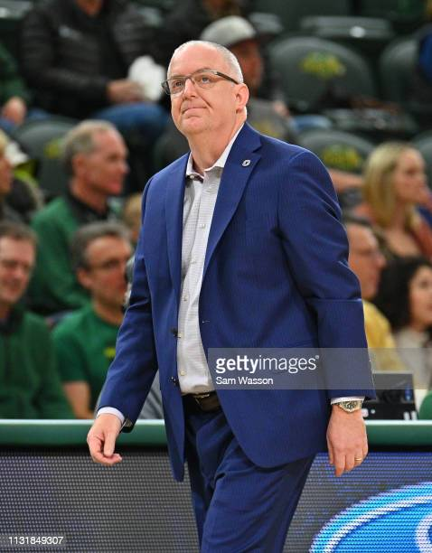Head coach Derrin Hansen of the Omaha Mavericks looks on during his team's game against the North Dakota State Bison at Scheels Center on February 23...