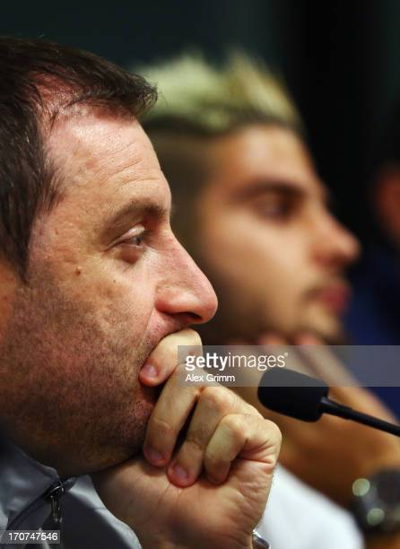 Head coach Devis Mangia and Lorenzo Insigne of Italy attend an Italy U21 press conference at Teddy Stadium ahead of their UEFA European U21...