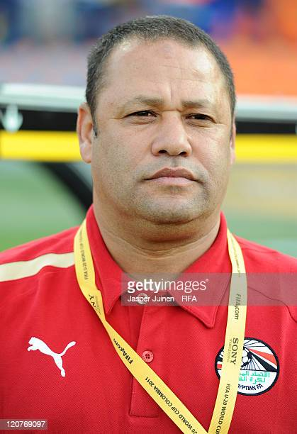 Head coach Diaa El Sayed of Egypt looks on during the FIFA U20 World Cup Colombia 2011 round of 16 match between Argentina and Egypt at the Atanasio...