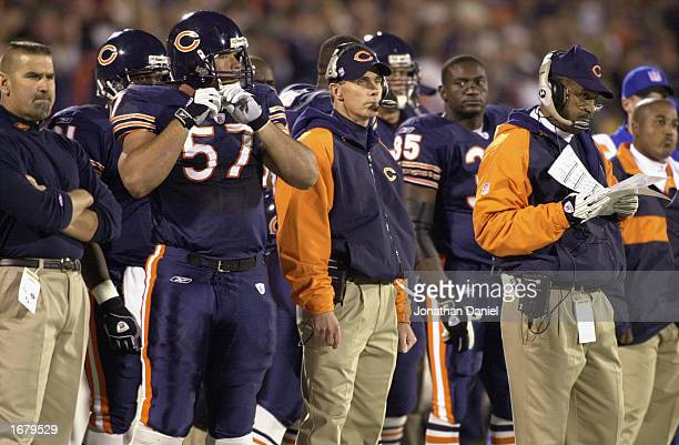 Head Coach Dick Jauron of the Chicago Bears looks on from the sidelines along with center Olin Kreutz and Defensive Coordinator Greg Blache during...