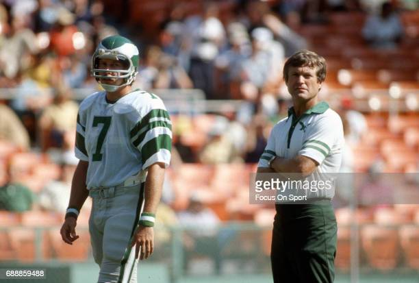 Head coach Dick Vermeil of the Philadelphia Eagles looks on with quarterback Ron Jaworski during pregame warmups prior to the start of an NFL...