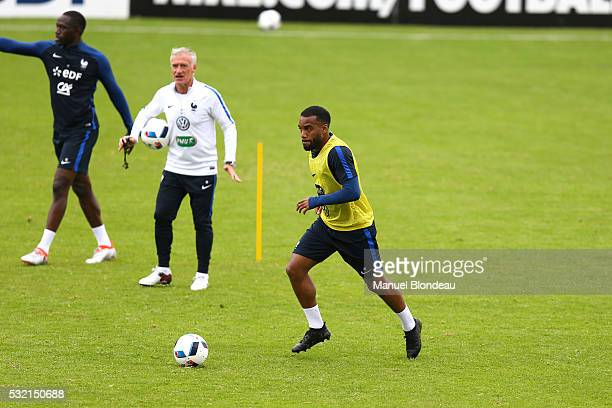 Head coach Didier Deschamps and Alexandre Lacazette of France during a training session during the preparation on the French football Team before...