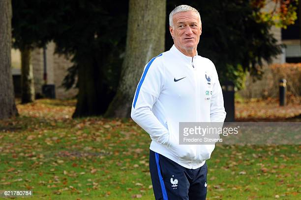 Head coach Didier Deschamps arrives for the official France team presentation 20162017 pictures at the french training center on November 8 2016 in...