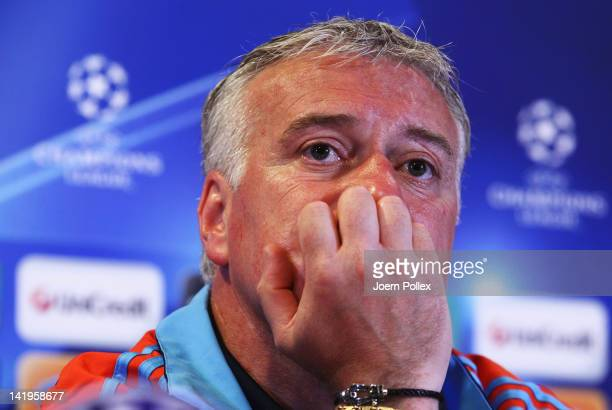 Head coach Didier Deschamps attends a press conference ahead of their UEFA Champions League Round of 8 first leg match against Bayern Muenchen on...