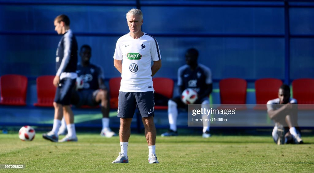 Head coach Didier Deschamps looks on during a France trainig session on July 12, 2018 in Moscow, Russia.