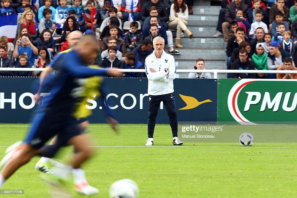 Head coach Didier Deschamps of France during a training session during the preparation on the French football Team for Euro 2016 on May 19, 2016 in Biarritz, France.