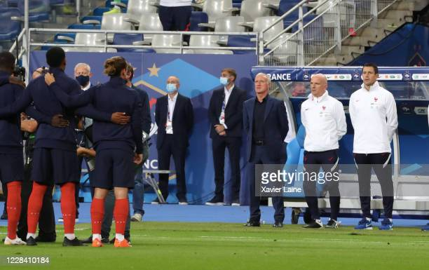 Head coach Didier Deschamps of France looks on during the national anthem with his players before the UEFA Nations League group stage match between...