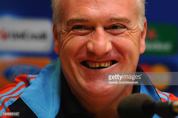 Head coach Didier Deschamps of Marseille smiles during a press conference ahead of their UEFA Champions League group F match against Borussia...